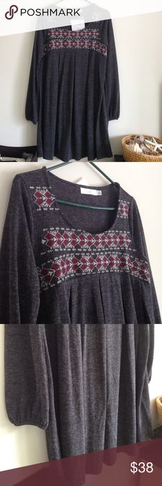 "Embroidery Sweater Dress Brand new with tag. Dark grey oversized sweater dress in a heavy knit with maroon & white embroidery detailing. 80% polyester and 20% cotton. Measurement laying flat: bust: 19.5"" length: 34"" easel Dresses Long Sleeve"