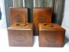 Wooden kitchen canisters vintage primitive rustic RTS - pinned by pin4etsy.com