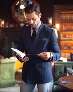 """""""What is it about British men in their thirties? David Gandy Style, David James Gandy, Famous Male Models, Androgynous Models, Herren Outfit, Double Breasted Blazer, Jackett, Suit And Tie, Gentleman Style"""