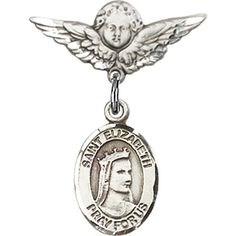 Sterling Silver Baby Badge with St. Elizabeth of Hungary Charm and Angel w/Wings Badge Pin 7/8 X 3/4 inches >>> Click image for more details.