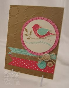 handmade card ... brown sugar base looks a lot like kraft ... honeycomb embossing folder ... two step bird punch ... like the stretch ruffled ribbon around the big circle focal point ... Stampin' Up!