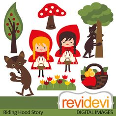 Clipart Riding Hood Story 07443.. Commercial use digital graphic clip art