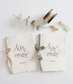 Wedding Vows Book Cotton Paper Booklet Linen Bow Handmade