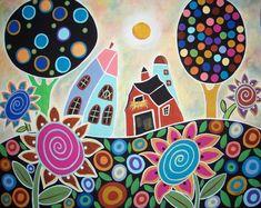 Folk Flower Farm 16 x 20 matte paper print Karla Gerard