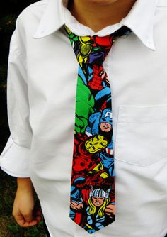 Avenger Birthday Tie! Matty should have a superhero party and you should make him have a tie like this!