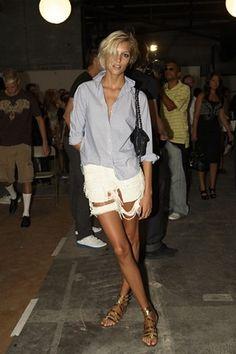 white cut off denim shorts