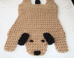 Crocheted Brown And Black Dog Rug, Animal Floor Rug, Puppy Dog Handmade Rug, Child's Room Rug, Wall Hanging, Child's Gift, Dog Lover's Rug