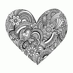 Mandala coloring - Free Coloring pages printables – Mandala coloring Doodle Art, Heart Doodle, Doodle Drawings, Zen Doodle, Heart Coloring Pages, Free Coloring Pages, Coloring Books, Coloring Sheets, Mandalas Painting