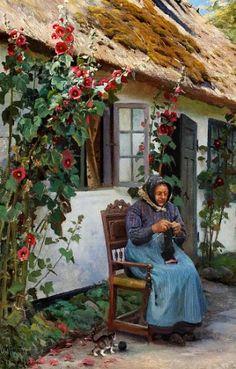 """Abuelita tejiendo una media"" - ""Granny knitting a sock"" , 1926 - Peder Mørk Mønsted (1859-1941)  - Pintor realista, danés"