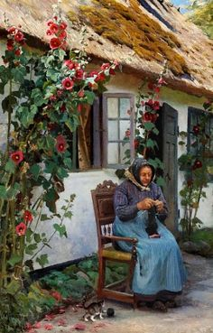 ✿Needlework Near The Window✿ Peder Mørk Mønsted (1859-1941) ~ Granny knitting a sock, 1926
