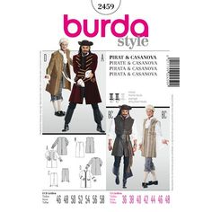 Pirate Pattern Collarless jacket with board buttoned sleeves, flaps, lace ruches and beautiful borders. As an alternative, the long vest with a slit. combined with knee breeches. A Burda Style sewing pattern. Burda Patterns, Costume Patterns, Simplicity Sewing Patterns, Pirate Jacket, Collarless Jacket, Long Vests, Ballet Costumes, Jacket Pattern, Pattern Books