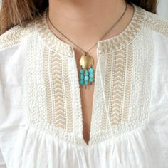 Aqua and Brass Boho Pendant Necklace  Hey guys! Check this out! Pretty cool ain't it? Follow me and my boards if you love me <3 Just kidding :P I know you guys love me anyways!!