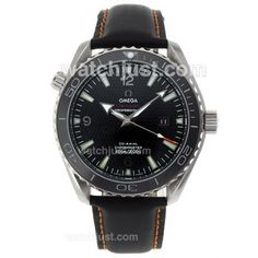 Omega Planet Ocean 007 Quantum Of Solace Edition Automatic with Black Dial-Leather Strap-Ceramic Bezel OM-55976