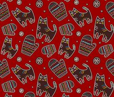 kittens and mittens fabric by oleynikka on Spoonflower - custom fabric