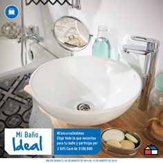 Participa eligiendo todo lo que necesitas para el baño de tu sueños. Podrás ganar 2 Gift Card de $100.000. #ConcursoSodimac #MiBañoIdeal Washroom Tiles, Sink, Home Decor, Shopping, Houses, Bedroom, Spaces, Cook, Mosaics