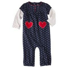 Just One You® made by Carter's Infant Girls' Hearts/Dots Jumpsuit - Navy/Red