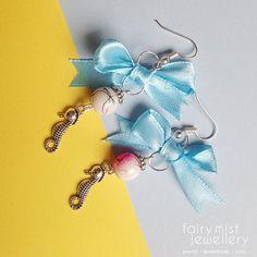 Sweet Ocean Pink and Blue Silver Seahorse by fairymistjewellery. Sweet cute pastel handmade jewellery.