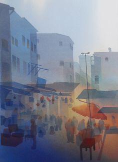 ali yanya - watercolours,Souk Series 56 x 2013 Watercolor Negative Painting, Watercolor Landscape, Abstract Watercolor, Watercolor Paintings, Abstract Art, Watercolours, Schmuck Design, Artist Painting, Painting Techniques
