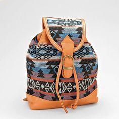 Boho Aztec Pattern Leather Detail Shoulder Bag Tote Backpack