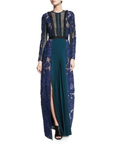 Thea+Lace-Paneled+Long-Sleeve+Maxi+Dress+by+Self+Portrait+at+Neiman+Marcus.