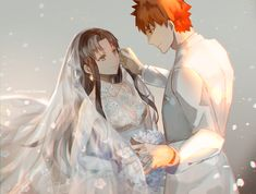 astarone brown_hair emiya_shirou fate/stay_night green_eyes long_hair necklace orange_hair short_hair tohsaka_rin wedding_attire
