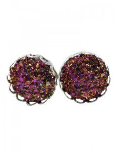 """Women's """"Druzy Fashion"""" Stud Earrings by Fearless Plugs #inked #inkedshop #inkedmagazine #earrings #jewelry #studs"""
