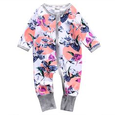 >> Click to Buy << Autumn Cute Newborn Toddler Infant Baby Girls Clothes Long Sleeve Zipper Floral Baby Girl Romper Jumpsuit Baby Outfit Clothes #Affiliate