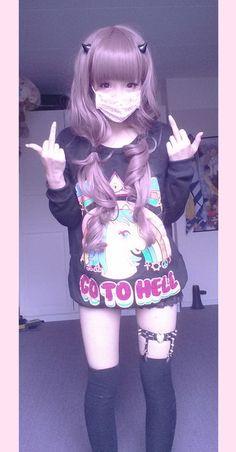 unicornio ir al infierno suéter kawaii japonés japón suéter kawaii asain