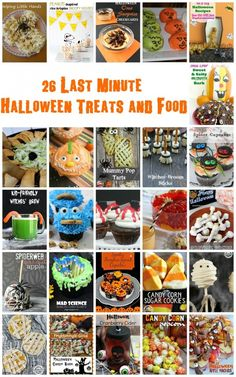 Halloween is this weekend! There is still time to make some fun and spooky treats and foods this week, so here are 26 last minute ideas . Halloween Bark, Halloween Apples, Halloween Desserts, Diy Halloween Decorations, Holidays Halloween, Haunted Halloween, Halloween Foods, Cheap Halloween, Halloween Cupcakes