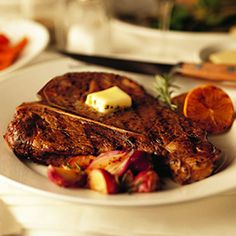 Grilled T-Bone Steaks With Gorgonzola Butter