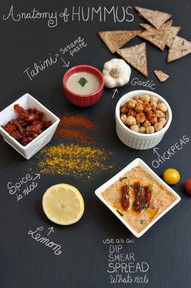 Hummus x3: spicy yellow lentil & apricot, artichoke & pinenuts, roasted red bell pepper & walnuts