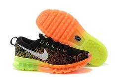 finest selection 46511 b2918 Women Nike Flyknit Air Max Black Orange Neon Green Black Running Shoes,  Running Shoes Nike