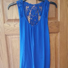 ROYAL BLUE CROCHETED TANK Lightly used. Tops Tank Tops