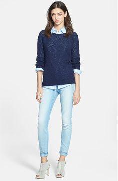 thin sweater - chambray shirt - no jeans