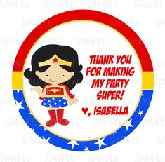 Printable Wonder Woman Party Favor Tags by PartyInnovations09