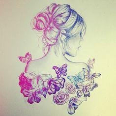 beautiful, butterfly, drawing, flower