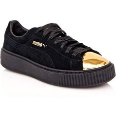 PUMA Gold Tip Suede Platform Sneakers (€66) ❤ liked on Polyvore featuring shoes, sneakers, suede shoes, puma trainers, suede lace up shoes, platform trainers and platform sneakers