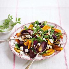 A hearty squash, beetroot and goat's cheese salad, made with time-saving ingredients. Makes a quick and appealing vegetarian midweek recipe.