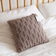 Knitted Cushion Pillow Cover Beige 35cm BLISSFORD by Lindyknits
