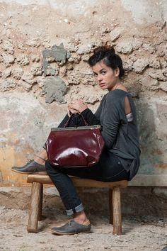 Burgundy Leather Tote Bag / Cross Body Bag by EllenRubenBagsShoes
