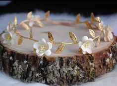 IVORY CHERRY BLOSSOM crown gold flower crown baby by ReignbyBrogan