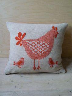 knit chicken pillow
