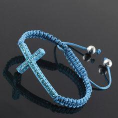 56e8bd635455 Mens Fashion Cross Bracelet - Aqua Blue www.instafashion.com