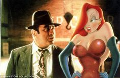 Jessica Rabbit, from 1988 movie Who Framed Roger Rabbit, pictured with Bob Hoskins
