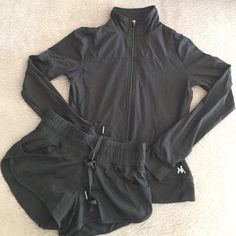 BUNDLE Kyodon black jacket and running shorts Both are size small in great condition. Shorts have a lime green lining, 2 front pockets and drawstring. Jacket is full zip with 2 front pockets. Bundle to save even more! Kyodan Jackets & Coats