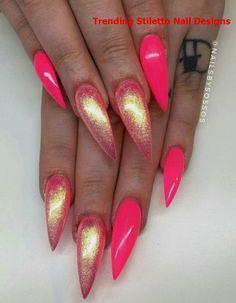 nail art gel nails, pink stiletto nails и pink nails. Pink Chrome Nails, Acrylic Nails Stiletto, Hot Pink Nails, Sparkly Nails, Summer Acrylic Nails, Pink Shellac, Pink Holographic Nails, Pastel Nails, Bling Nails