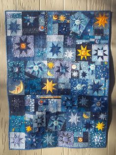 Nice blue and yellow kid quilt with stars and moons . A wonderful addition to a child room that will delight young amateur astronomers! - Stars and Moon Quilt by Kelly Girl Quilts. Star Quilt Blocks, Star Quilts, Amish Quilts, Quilt Baby, Girls Quilts, Blue Quilts, Quilting Projects, Quilting Designs, Quilt Design