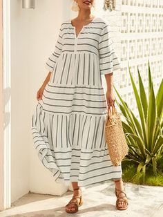 Floral Maxi Dress, Striped Dress, Half Sleeves, Dresses With Sleeves, Cheap Summer Dresses, Maxi Robes, Summer Maxi, Spring Summer, Holiday Dresses