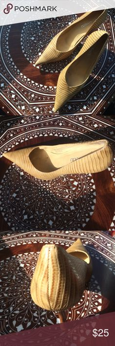 """Beige & tan striped heels - size 8 With a 2"""" heel, these beige/tan striped heels are the perfect shoe to elevate your look! Shoes Heels"""
