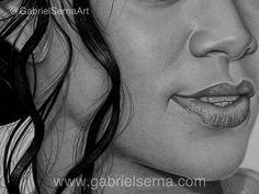Pencil Drawing - Rihanna - by - Gabriel Serna  Skin texture Closeup Graphite pencil